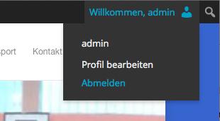 """Wenn ihr dann angemeldet seit, erscheint im oberen Bereich der Seite ein zusätzliches Menü. Klickt hier auf Willkommen, """"euer Benutzername"""" und ihr gelangt zu eurem Profil"""